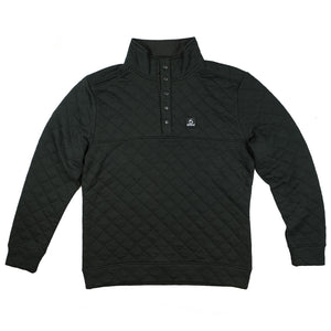 Quilted Quarter-Snap Pullover - Black