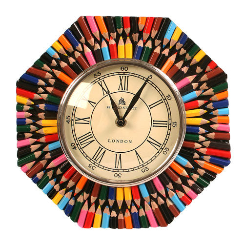 Recycled crayon clock hexagonal