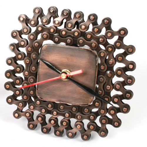 Recycled bike chain clock