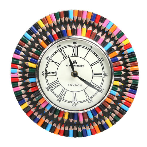 Recycled crayon clock round