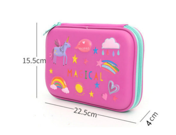 Kidte™ Embossed Hardtop Pencil Case - Kids Large Colored Pen Holder Box with Compartments