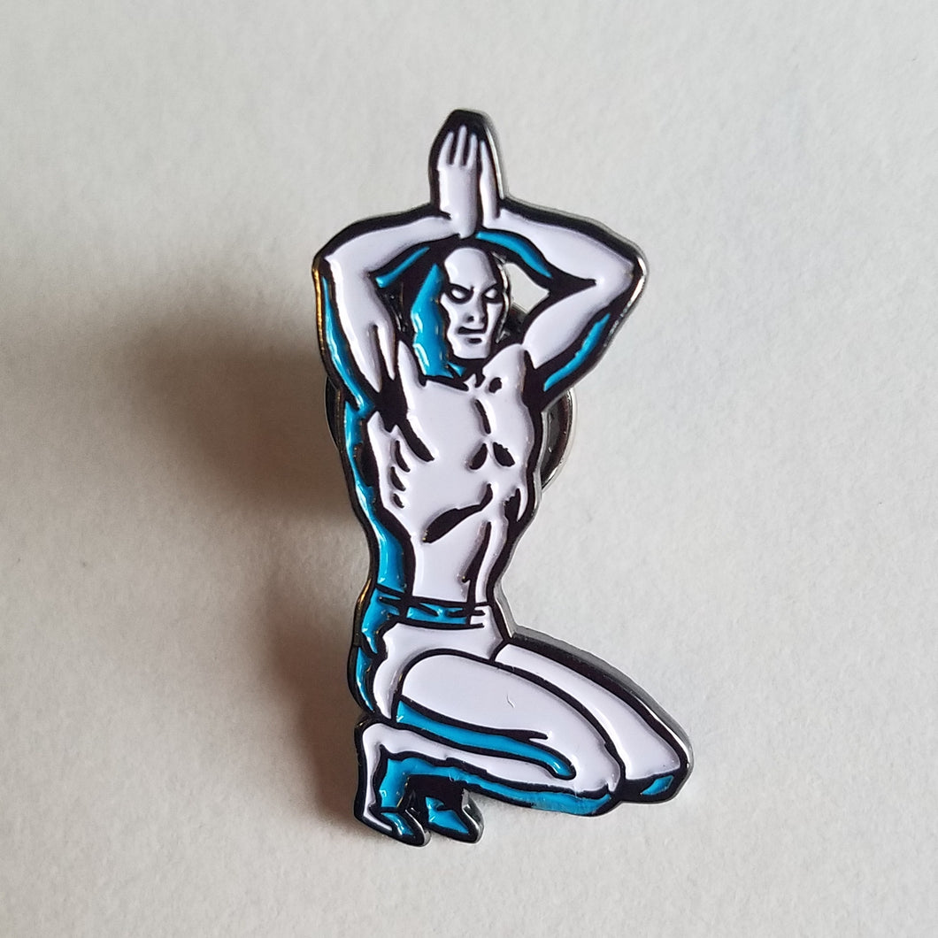SILVER SURFER YOGA ENAMEL PIN
