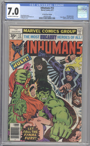 INHUMANS #12 RARE 35 CENT COVER PRICE VARIANT CGC 7.0 F/VF MARVEL 1977 HULK BATTLE