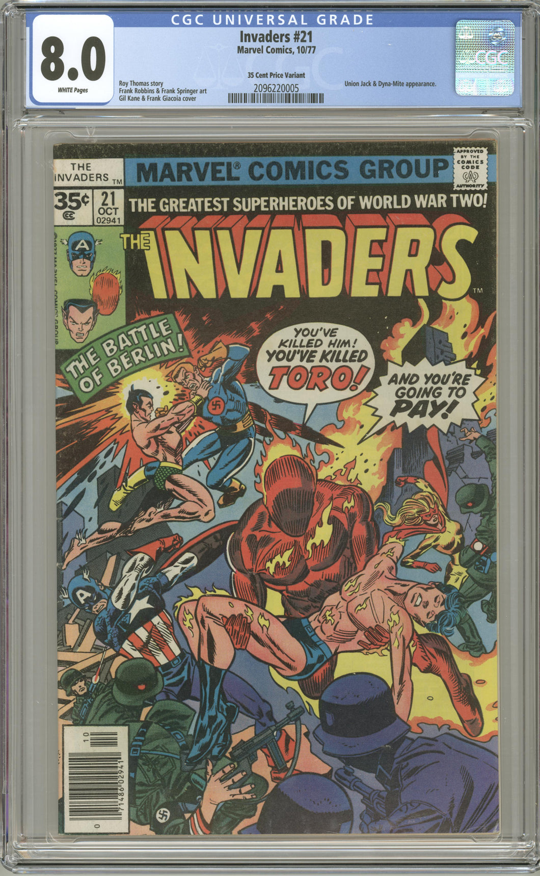INVADERS #21 CGC 8.0 VF RARE 35 CENT COVER PRICE VARIANT 1977 MARVEL