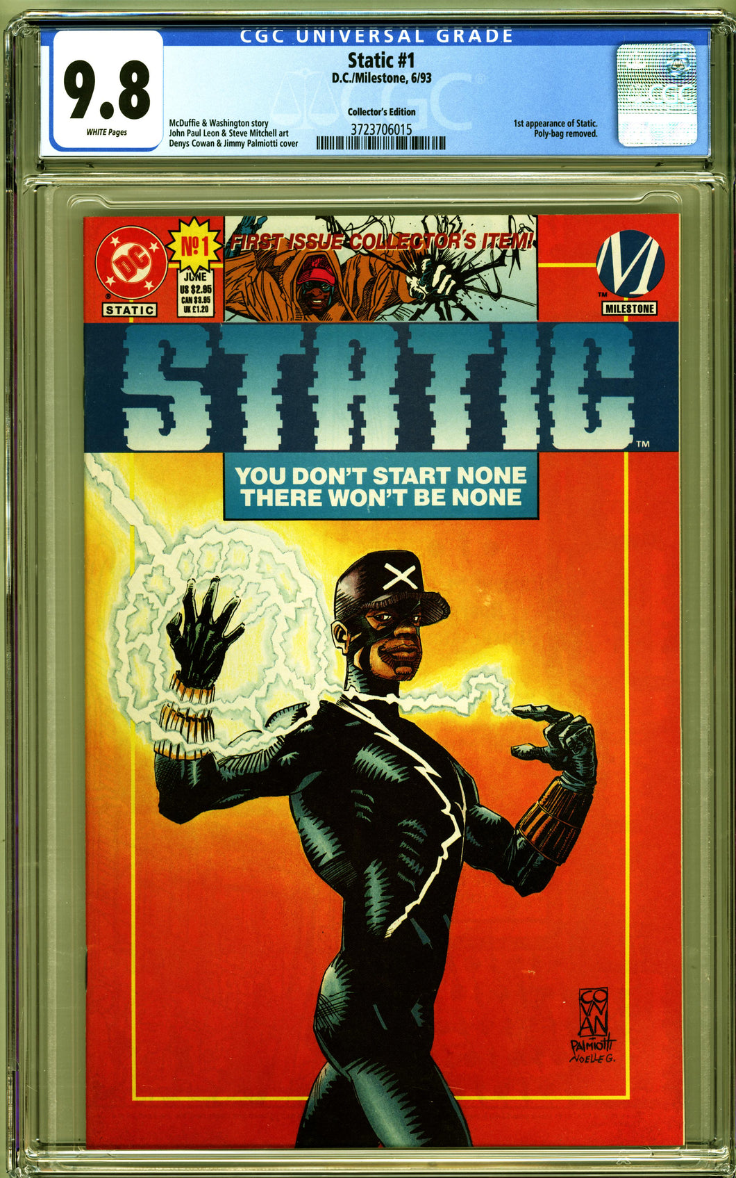 STATIC #1 (1993 DC Comics) CGC 9.8 NM/M COLLECTOR'S EDITION First Appearance