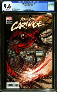 ABSOLUTE CARNAGE #1 (2019 Marvel) CGC 9.6 NM+ Bradshaw Variant