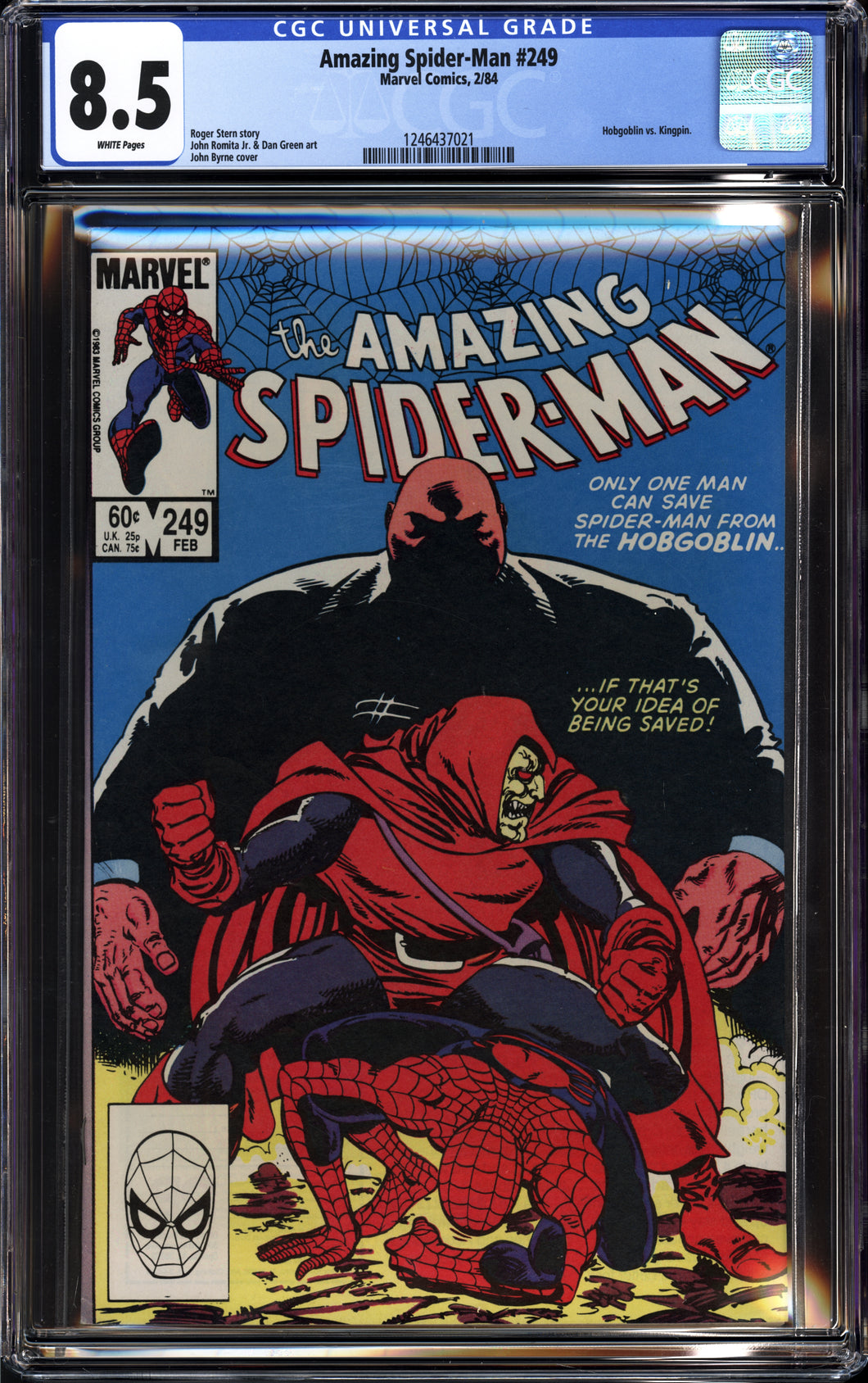 AMAZING SPIDER-MAN #249 (1984 Marvel) CGC 8.5 VF+ Hobgoblin vs Kingpin