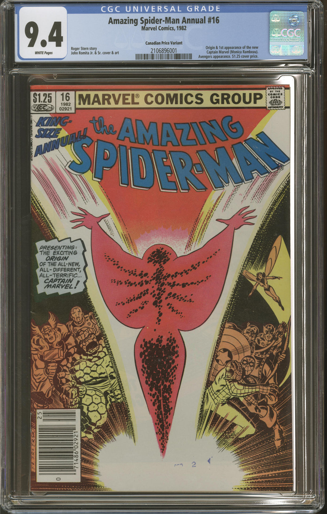 AMAZING SPIDER-MAN ANNUAL #16 (Marvel 1982) CGC 9.4 NM RARE Canadian Price Variant