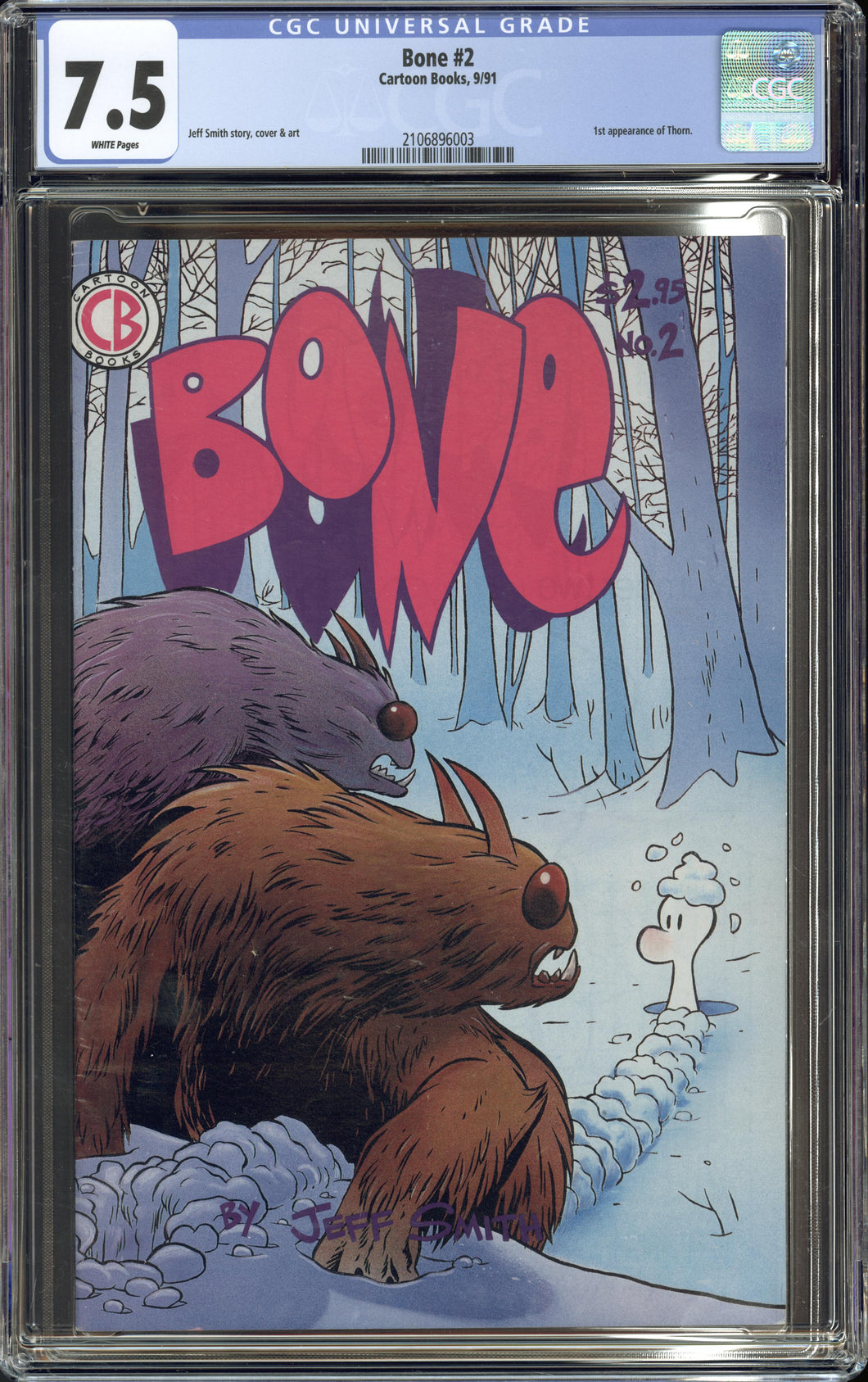 BONE #2 (Cartoon Books 1991) CGC GRADED 7.5 VF- Jeff Smith 1st Thorn Appearance