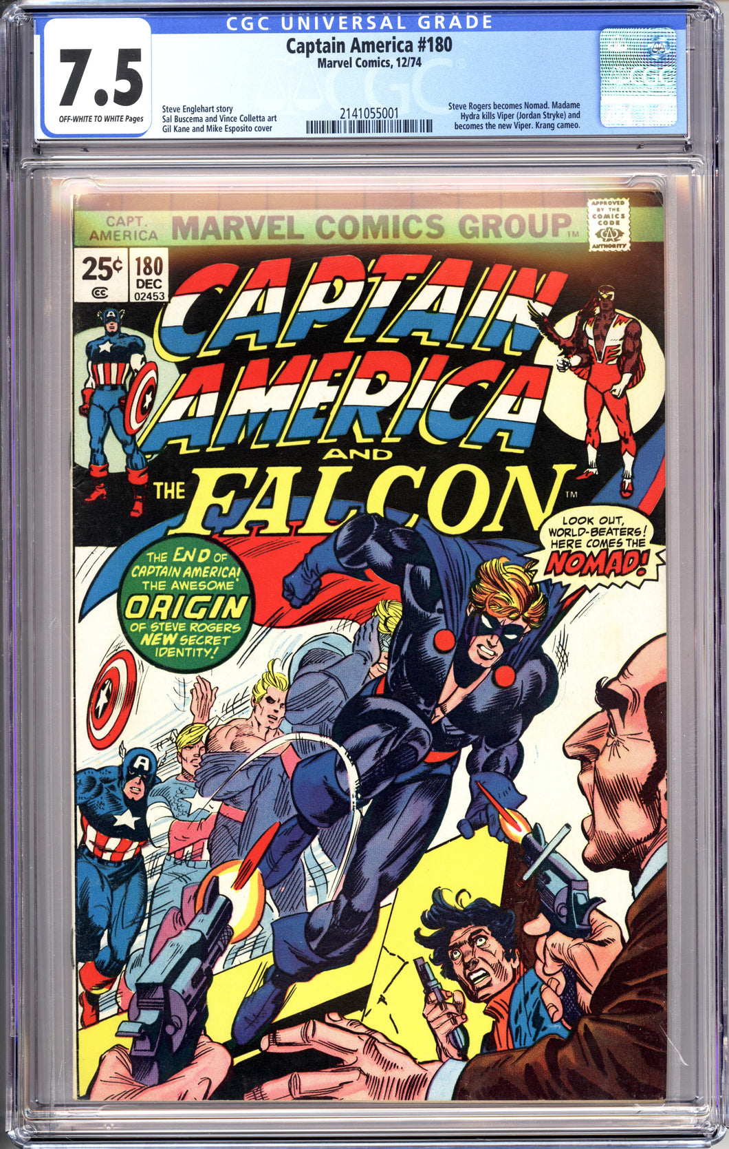 CAPTAIN AMERICA #180 (1974 Marvel) CGC 7.5 VF- Falcon 1st Nomad Appearance