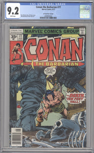 CONAN THE BARBARIAN #77 RARE 35 CENT PRICE VARIANT CGC 9.2 NM- MARVEL 1977