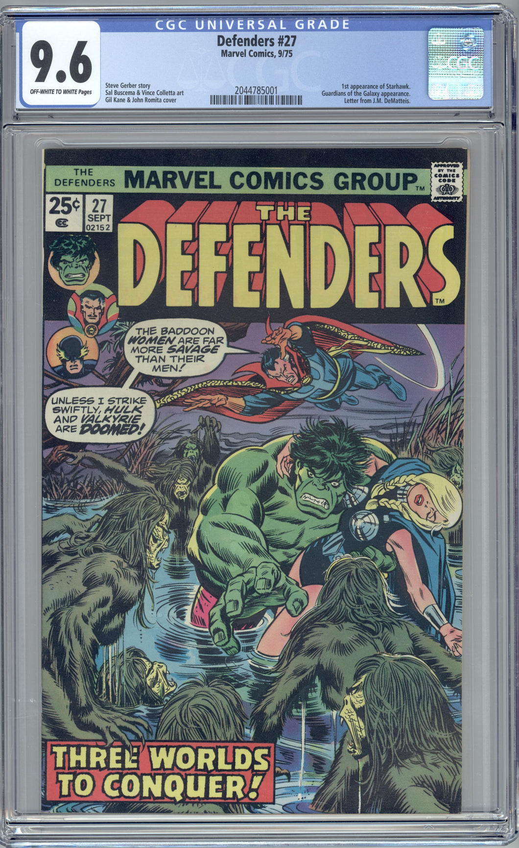 DEFENDERS #27 CGC 9.6 FIRST STARHAWK, Guardians of the Galaxy