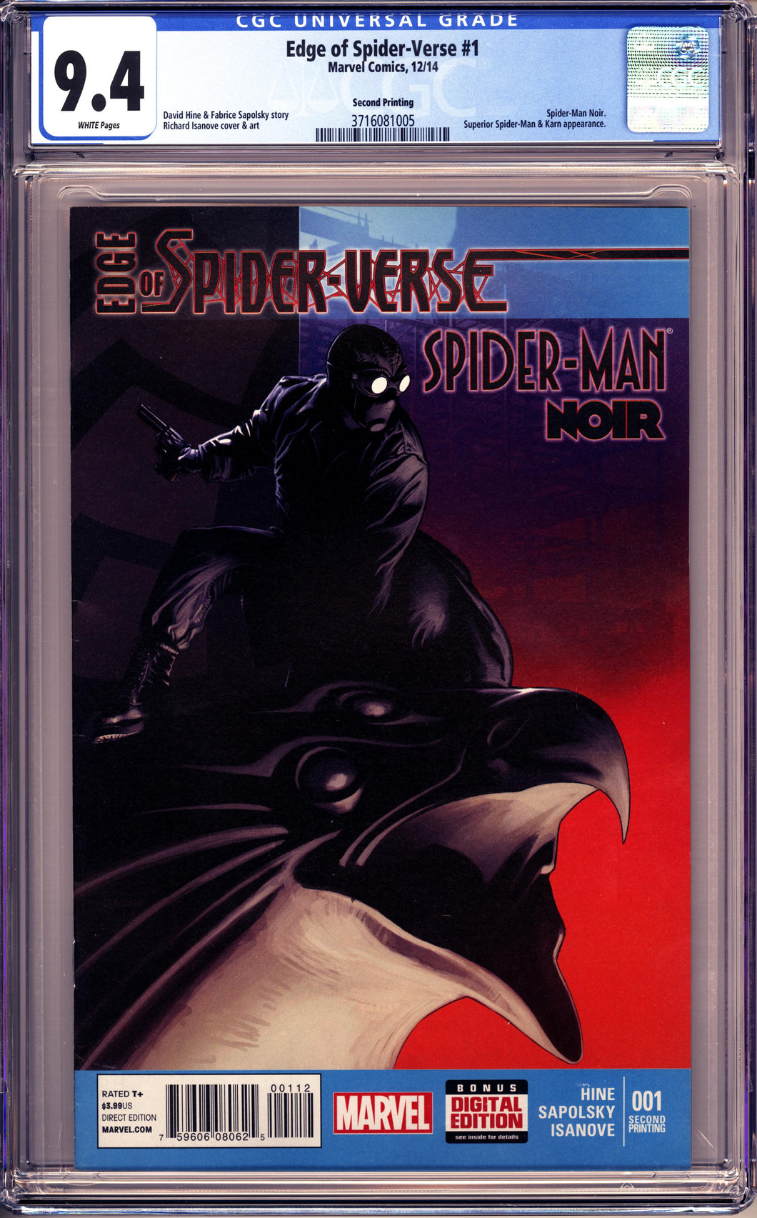 EDGE OF SPIDER-VERSE #1 (2014 Marvel) CGC 9.4 NM SPIDER-MAN NOIR 2nd Print