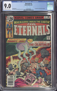 ETERNALS #2 (1976 Marvel) CGC GRADED 9.0 VF/NM OFF-WHITE TO WHITE PAGES