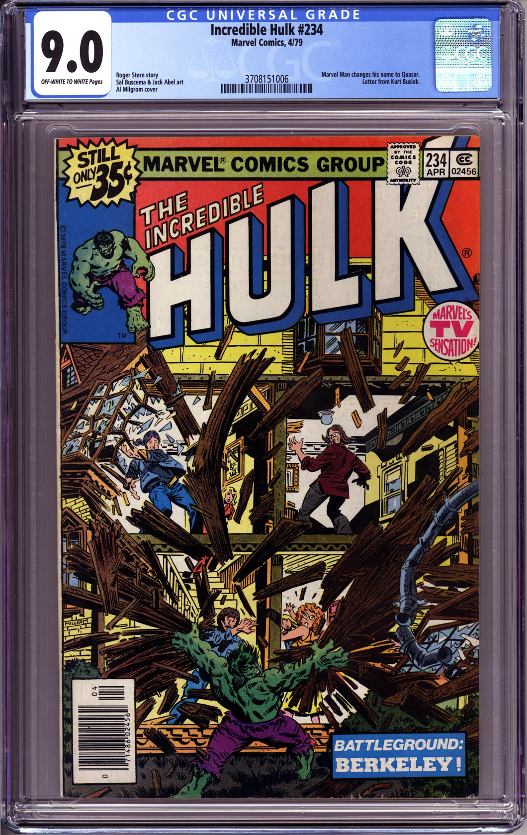 INCREDIBLE HULK #234 (1979 Marvel) CGC 9.0 VF/NM FIRST APPEARANCE QUASAR