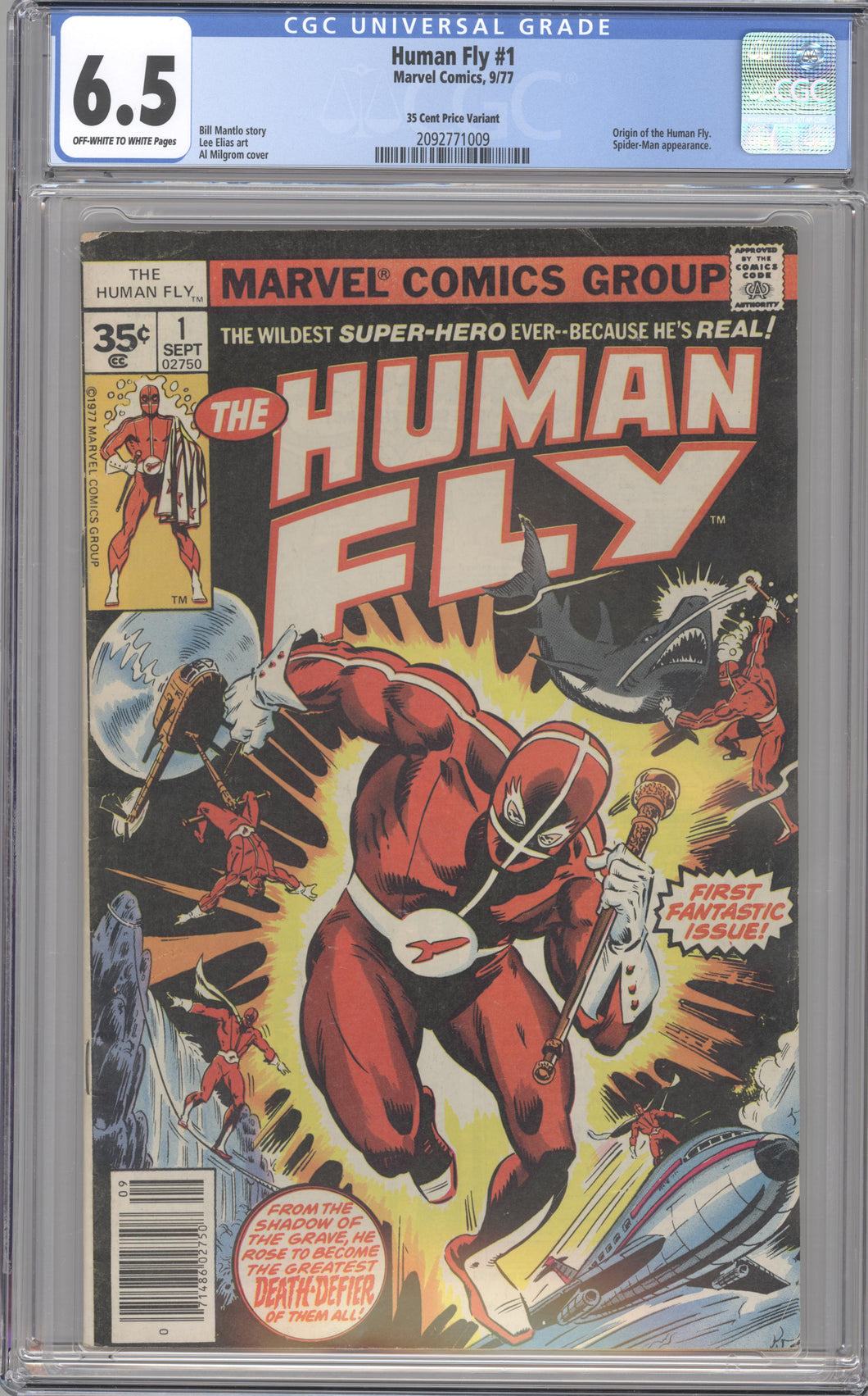 HUMAN FLY # 1 CGC 6.5 F+ RARE 35 CENT MARVEL COVER PRICE VARIANT 1977