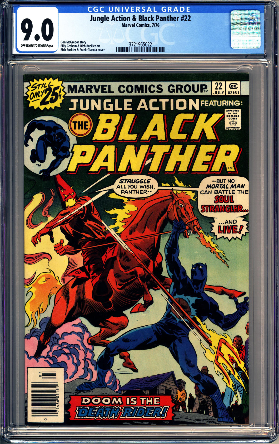 JUNGLE ACTION & BLACK PANTHER #22 (1976 Marvel) CGC GRADED 9.0 VF/NM