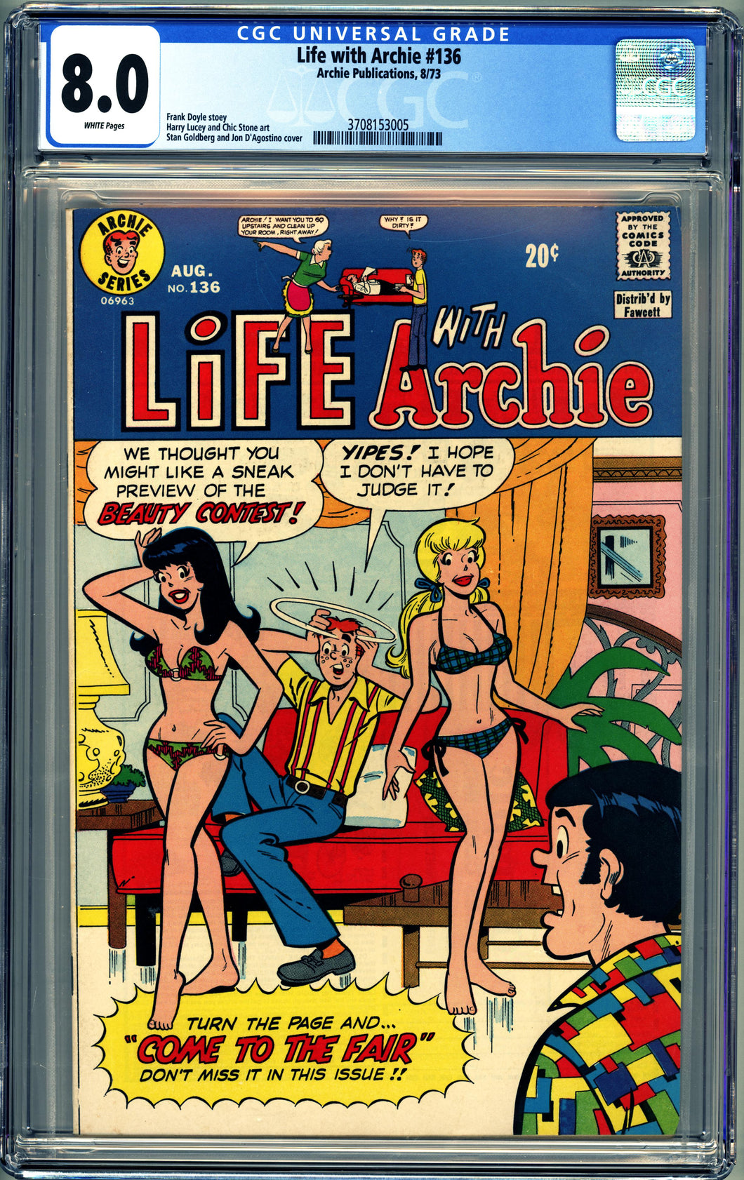 LIFE WITH ARCHIE #136 (1973) CGC 8.0 VF SINGLE HIGHEST GRADED SWIMSUIT COVER