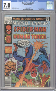 MARVEL TEAM-UP #61 CGC 7.0 F/VF RARE MARVEL 35 CENT COVER PRICE VARIANT 1977