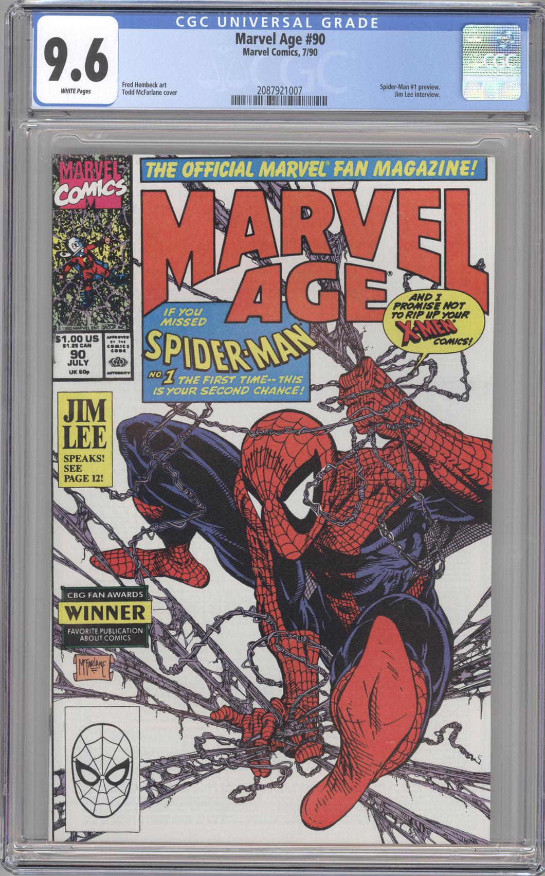 MARVEL AGE #90 (1990 Marvel) CGC 9.6 NM+ Spider-Man 1 Preview Jim Lee Interview