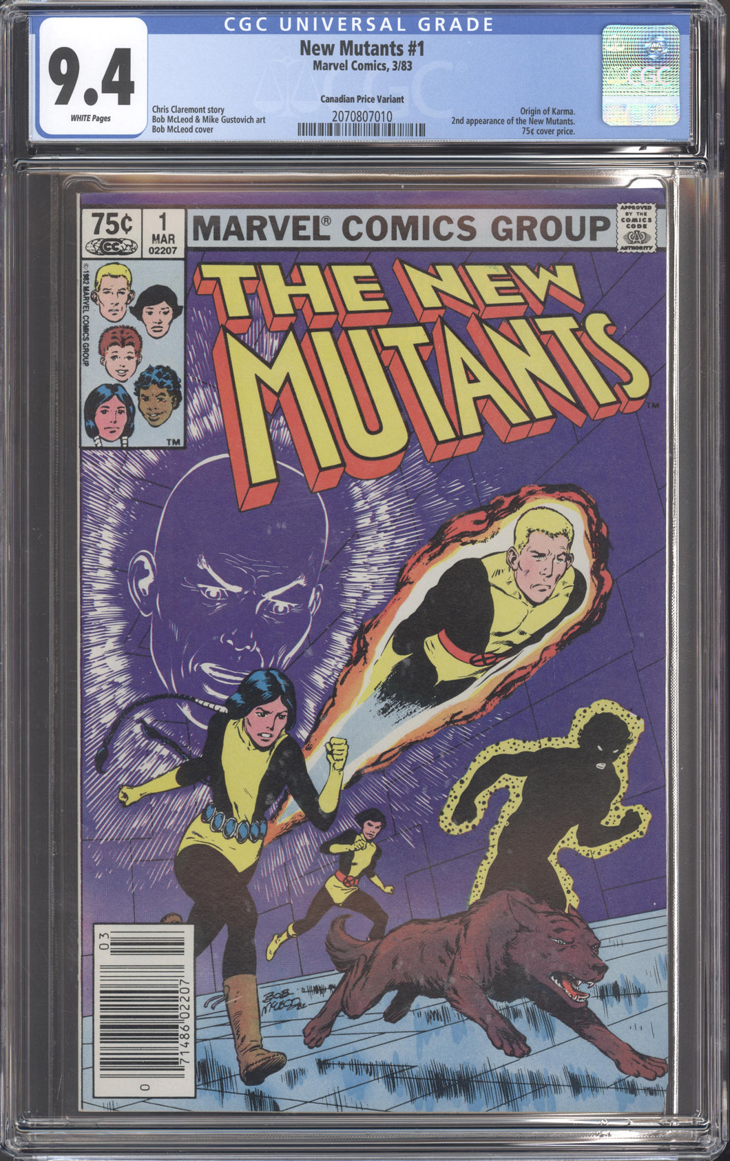 NEW MUTANTS #1 (1983 Marvel) CGC 9.4 NM RARE CANADIAN PRICE VARIANT