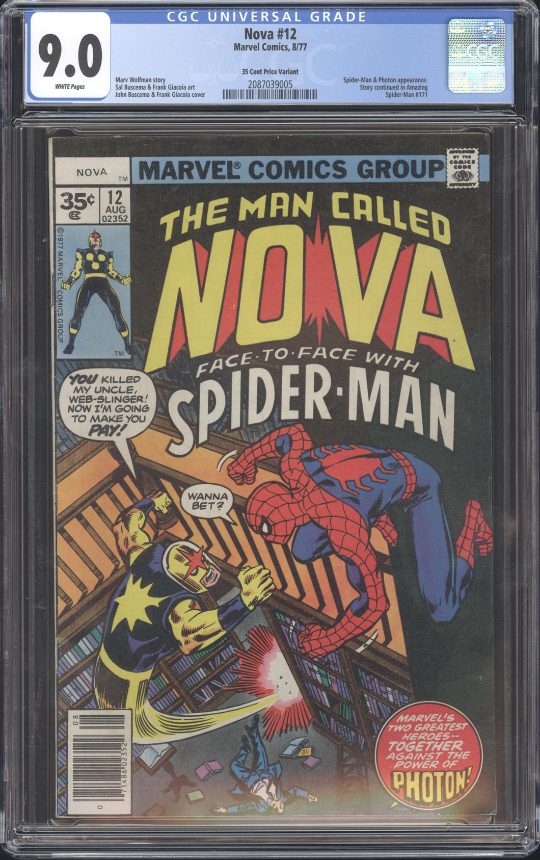 NOVA #12 RARE 35 CENT PRICE VARIANT CGC 9.0 SPIDER-MAN APPEARANCE MARVEL 1977
