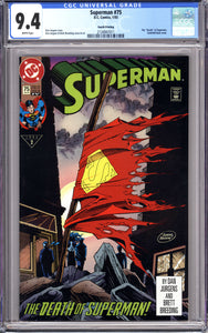 SUPERMAN #75 (1993 DC) CGC 9.4 NM RARE 4th Printing DEATH OF SUPERMAN
