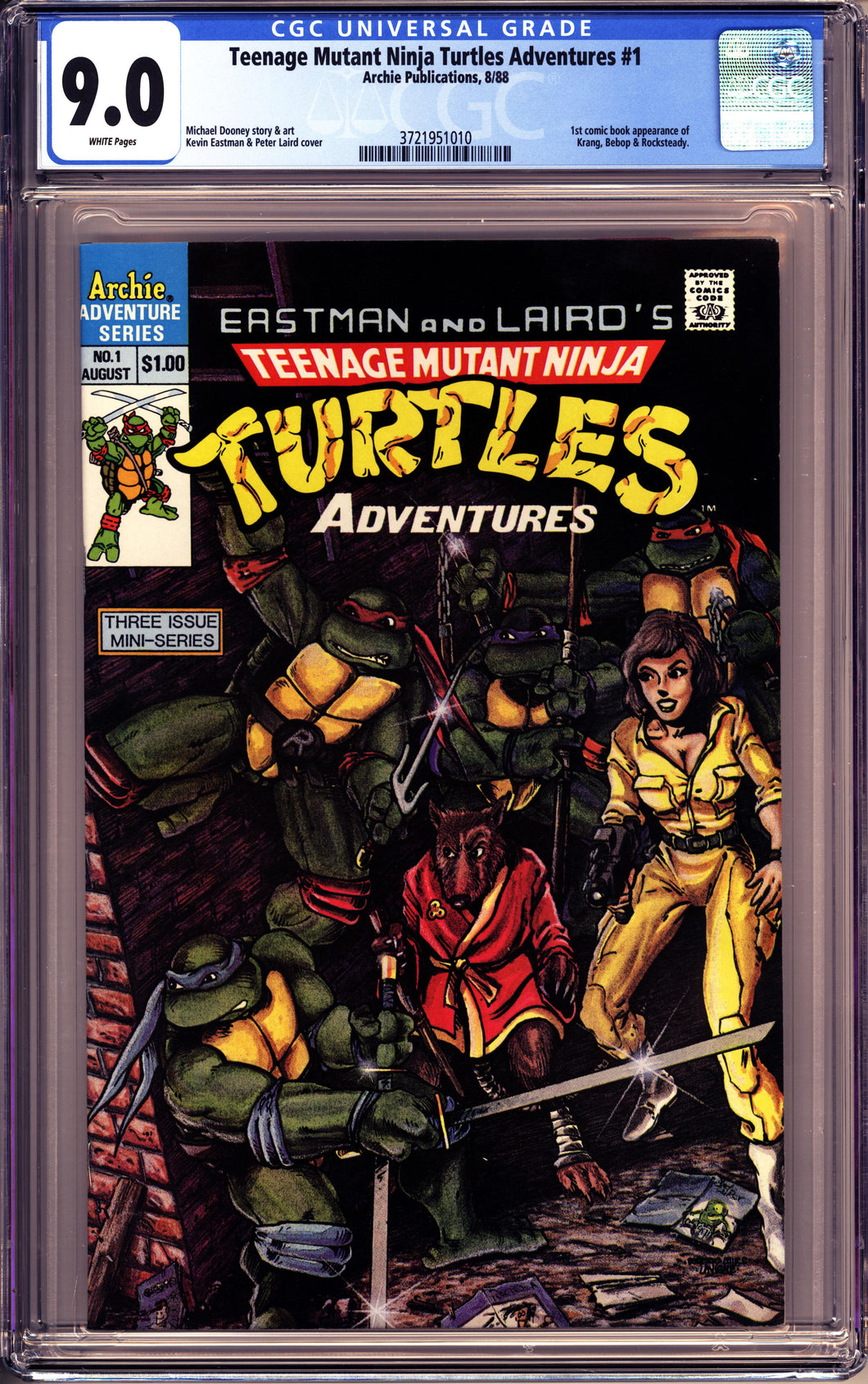 TMNT ADVENTURES #1 (1988 Archie Publications) CGC 9.0 VF/NM EASTMAN LAIRD