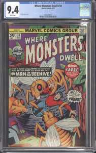 WHERE MONSTERS DWELL #34 (1975 Marvel) CGC GRADED 9.4 NM White Pages