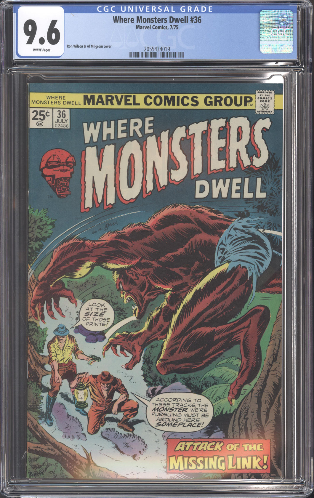 WHERE MONSTERS DWELL #36 (1975 Marvel) CGC GRADED 9.6 NM+ White Pages HIGHEST GRADED