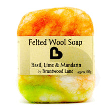 Load image into Gallery viewer, felted soap - basil, lime and mandarin
