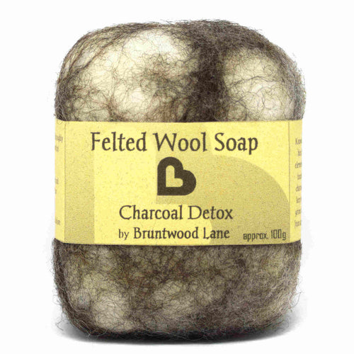 felted wool soap - charcoal detox