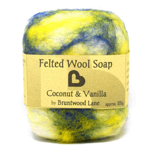 Coconut and Vanilla Felted Wool Soap by Bruntwood Lane