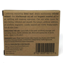 Load image into Gallery viewer, eco felted soap back of package information - colloidal oatmeal and marlborough sea salt with bergamot essential oil