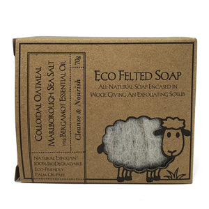 eco felted soap front package - colloidal oatmeal and marlborough sea salt with bergamot essential oil