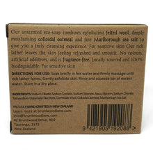 Load image into Gallery viewer, eco felted soap back of package information - colloidal oatmeal and marlborough sea salt