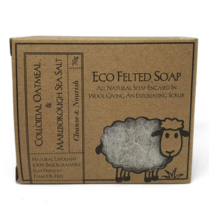 eco felted soap front package - colloidal oatmeal and marlborough sea salt