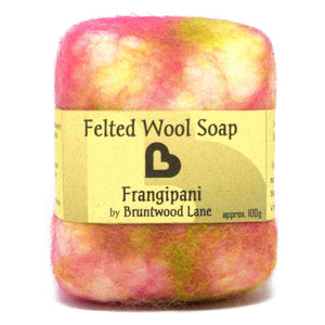 felted wool soap - frangipani