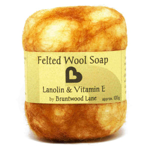 exfoliating felted wool soap - lanolin and vitamin e