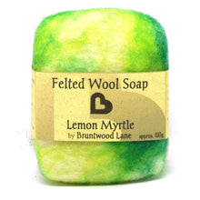 Load image into Gallery viewer, Exfoliating felted wool soap - lemon myrtle