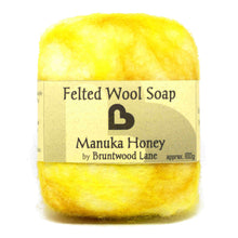 Load image into Gallery viewer, exfoliating felted wool soap - manuka honey
