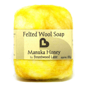 exfoliating felted wool soap - manuka honey