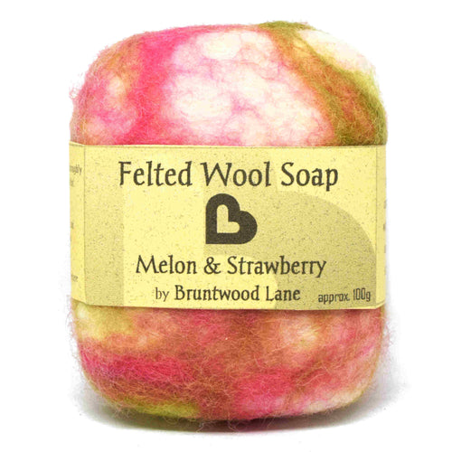 Melon and Strawberry Felted Wool Soap by Bruntwood Lane