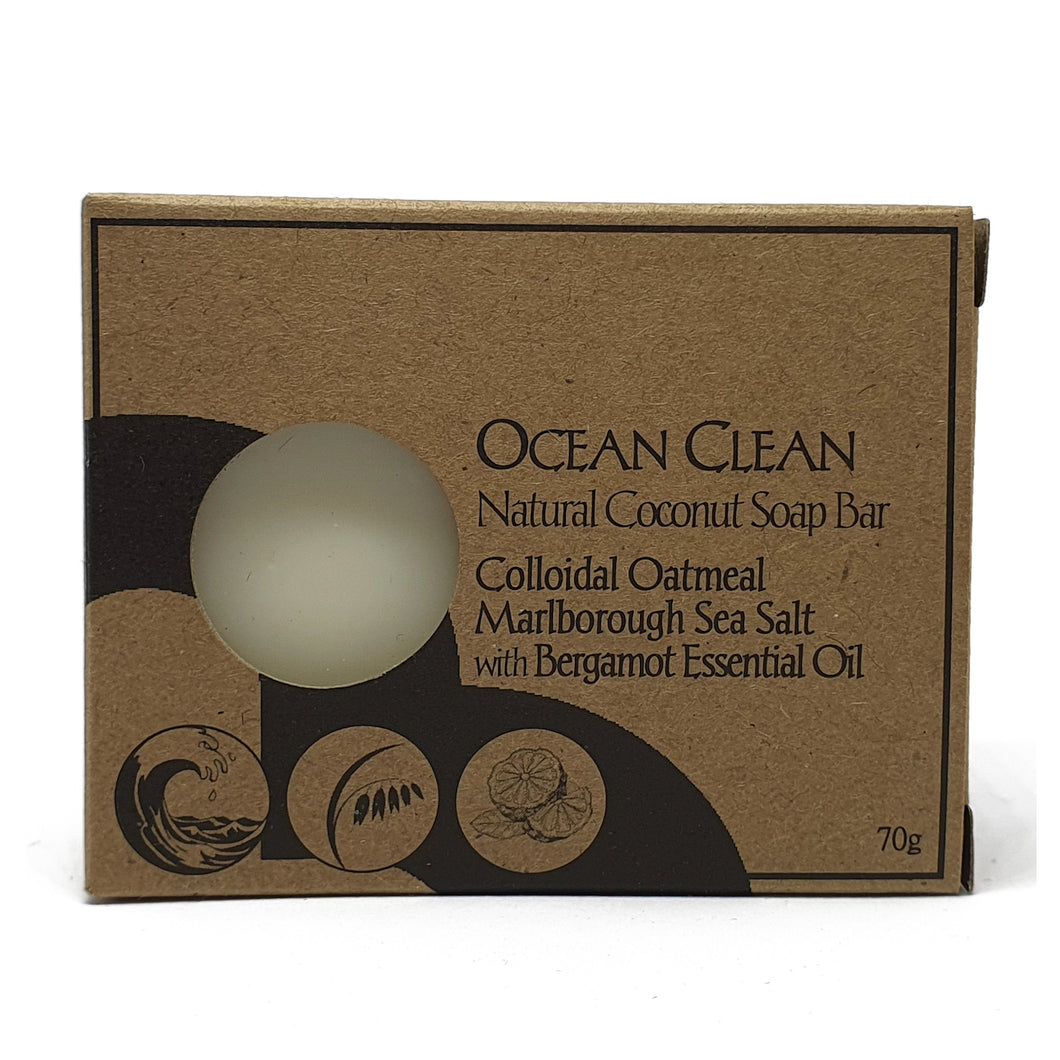 ocean clean palm oil free soap by Bruntwood Lane - naked bar colloidal oatmeal, marlborough sea salt, bergamot essential oil