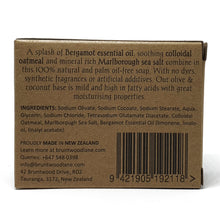 Load image into Gallery viewer, ocean clean palm oil free soap by Bruntwood Lane - back of package description with bergamot essential oil