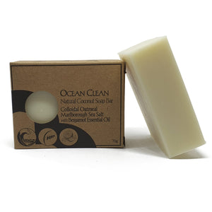 ocean clean palm oil-free soap by Bruntwood Lane - Colloidal Oatmeal and Marlborough Sea Salt with Bergamot Essential oil in Packaging