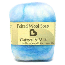 Load image into Gallery viewer, exfoliating felted wool soap - oatmeal and milk