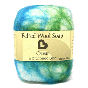 exfoliating felted wool soap - ocean