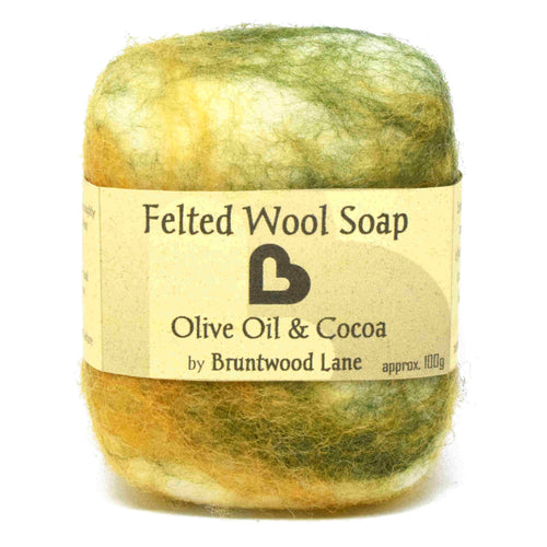 exfoliating felted wool soap - olive oil and cocoa butter
