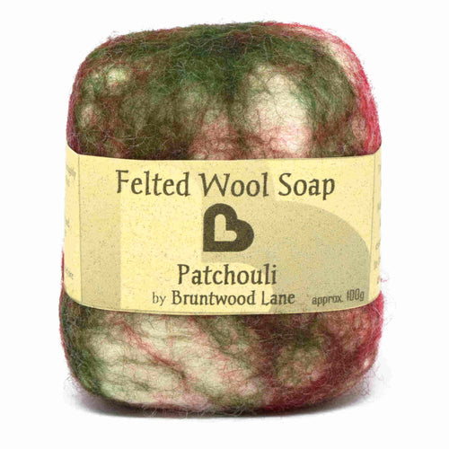 exfoliating felted wool soap - patchouli